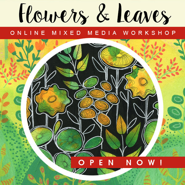 Mixed Media Leaves and Flowers Workshop